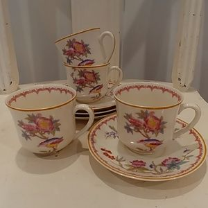 Vntg SYRACUSE CHINA 'BOMBAY' Demitasse Cups Saucer